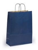 Темно-синий крафт пакет с крученой ручкой